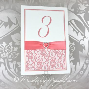 Ribbon Heart Lace Table Number